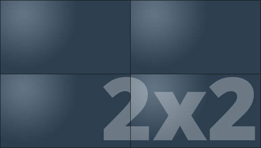 Telebim - monitory bezszwowe - videowall - proporcje 2x2
