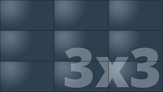 Telebim - monitory bezszwowe - videowall - proporcje 3x3